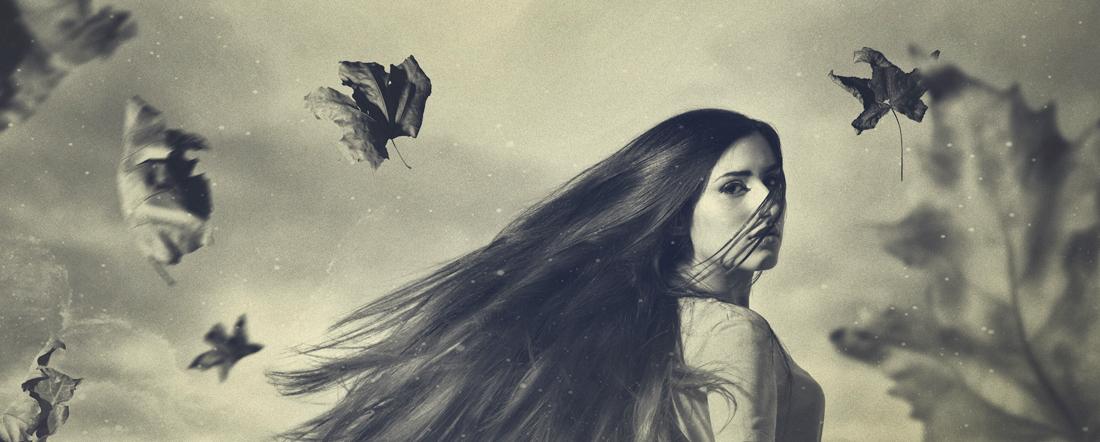 A0930 Retrato Magico Vento Folhas Cabelo vintage